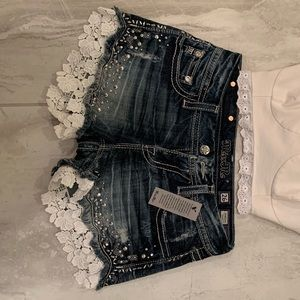 NWT Miss Me lace lined denim shorts